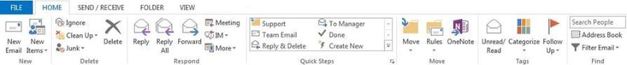 Top navigation ribbon in Outlook