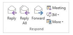 Email reply button under the Respond group.