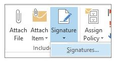 Signature button to create a signature in Outook